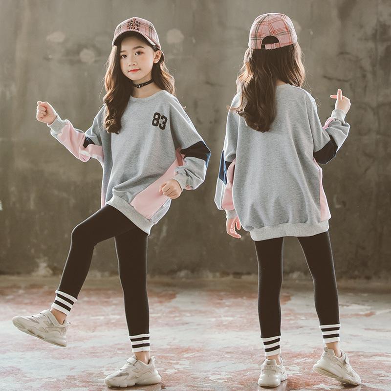 Kids Tracksuit Algodão Outono Outfits Dois Peça Conjunto De Roupas Suéter + Leggings Branco / Cinza Menina Boutique Outfits Bebê Roupas 201126