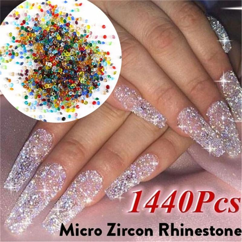 1440Pcs/Bag 1.2mm Nail Rhinestone Crystal Glass Micro Rhinestones for 3D Nails Art Decorations for Manicure Nails Strass Uv Gel