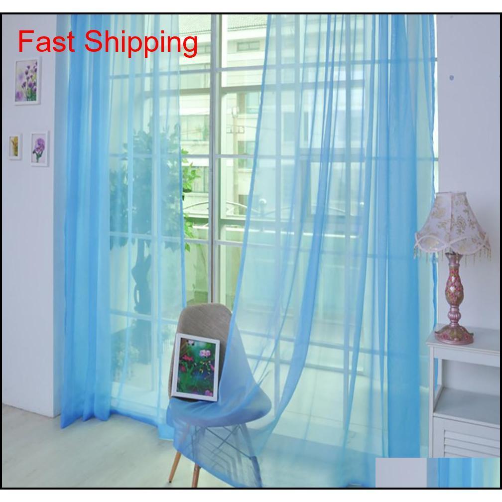 1шт чистый цвет тюль окна скрининга твердых дверных занавесок драпировки панель прозрачный тюль для гостиной панель прозрачный Qylfvm Bdesports