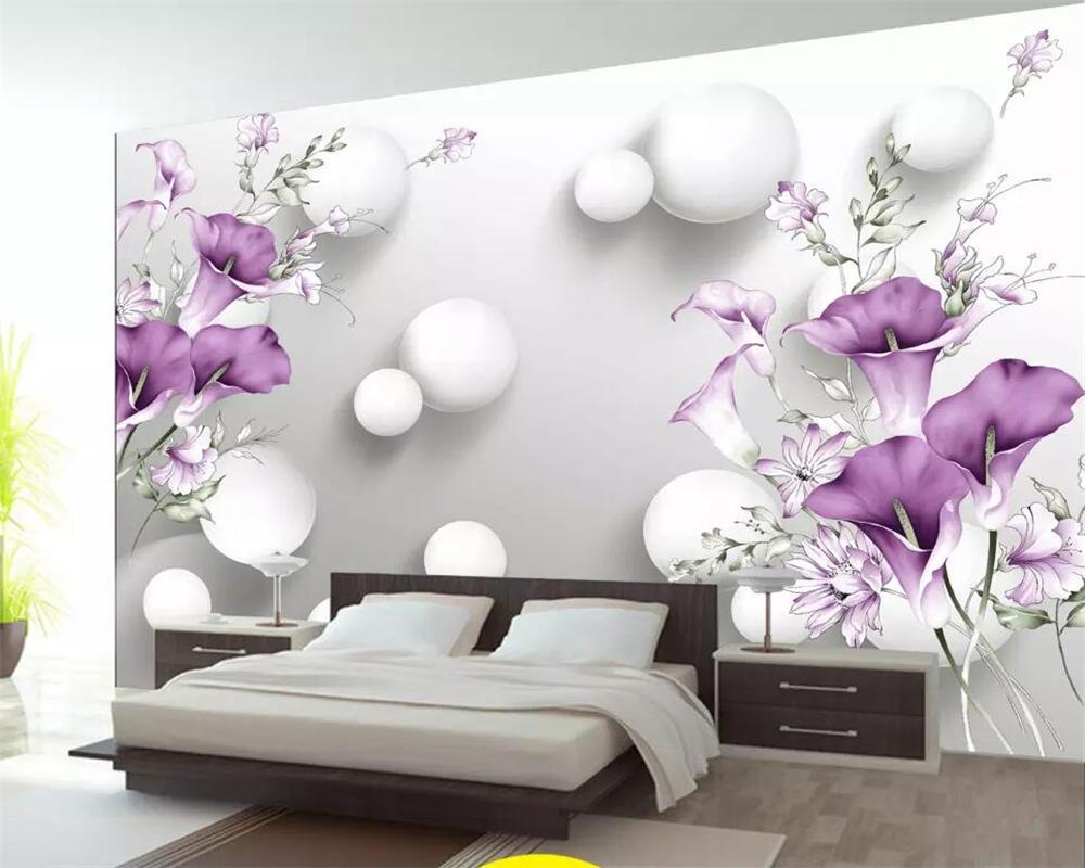 Beibehang Kundenspezifische Tapete handgemalte lila Calla-Lilien schöne frische 3D-TV Hintergrund Wand Wohnzimmer Schlafzimmer 3d