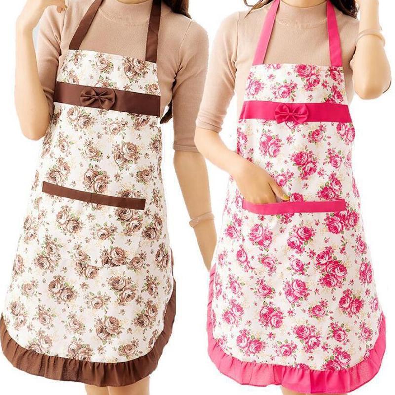 Mujer Lady Floral Paño delantal para el restaurante Home Cocina Cocina BBQ con cintura de bolsillo BIB Mujeres Delantal