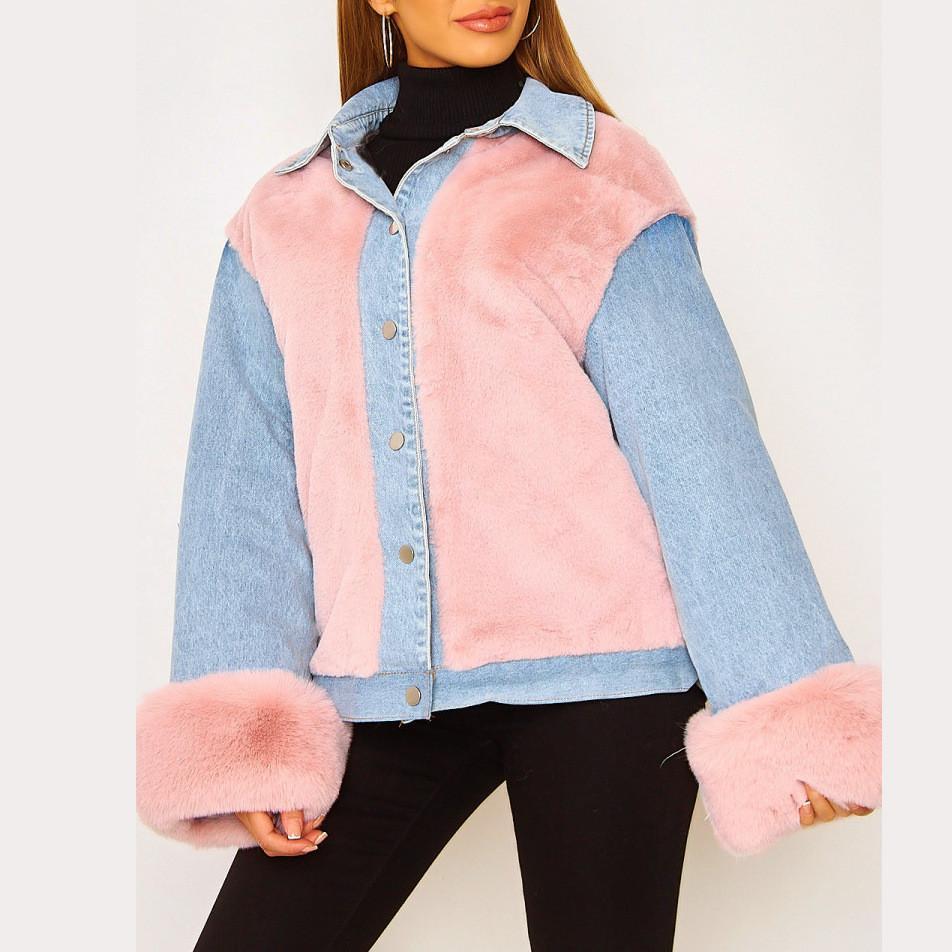 Winter Designer Jacket Fashion Plush Denim Panelled Long Sleeve Lapel 21FW Neck Loose Coat Womens Clothing