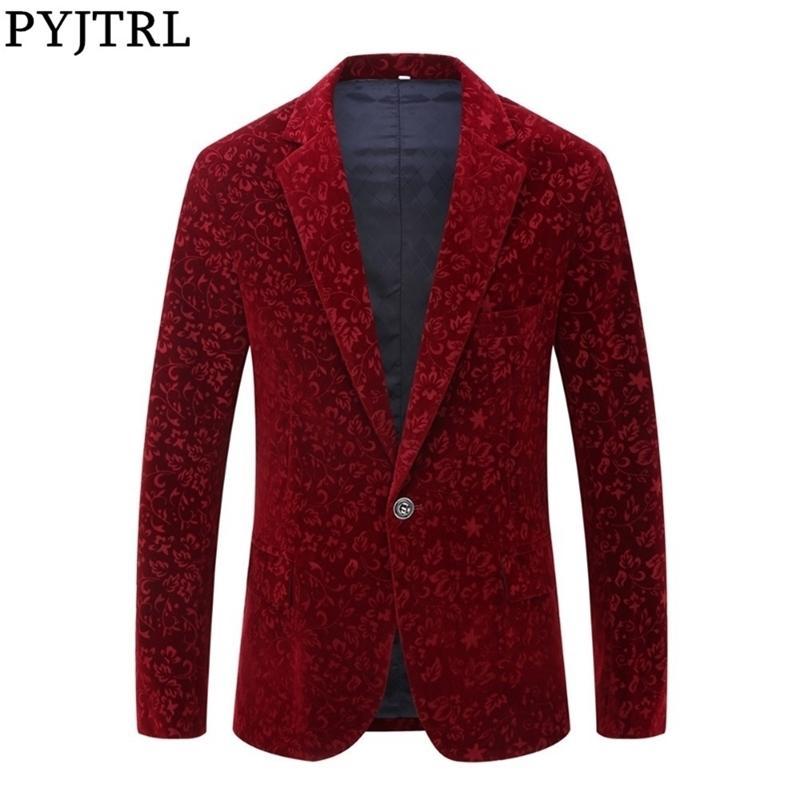 Pyjtrl Männer Herbst Winterwein Rot Burgunder Samt Blumenmuster Anzug Jacke Slim Fit Blazer Designs Bühne Kostüme für Sänger Y201026