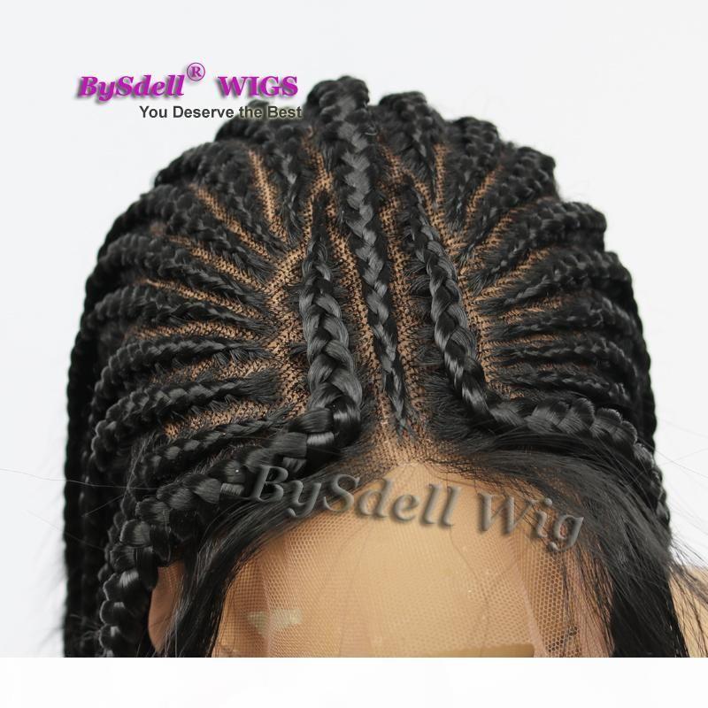 Beyonce llena de la mano atada a largo trenzado del cordón del pelo peluca sintética caja trenzas del pelo del cordón peluca llena trenzas negras pelucas para las mujeres negras en venta