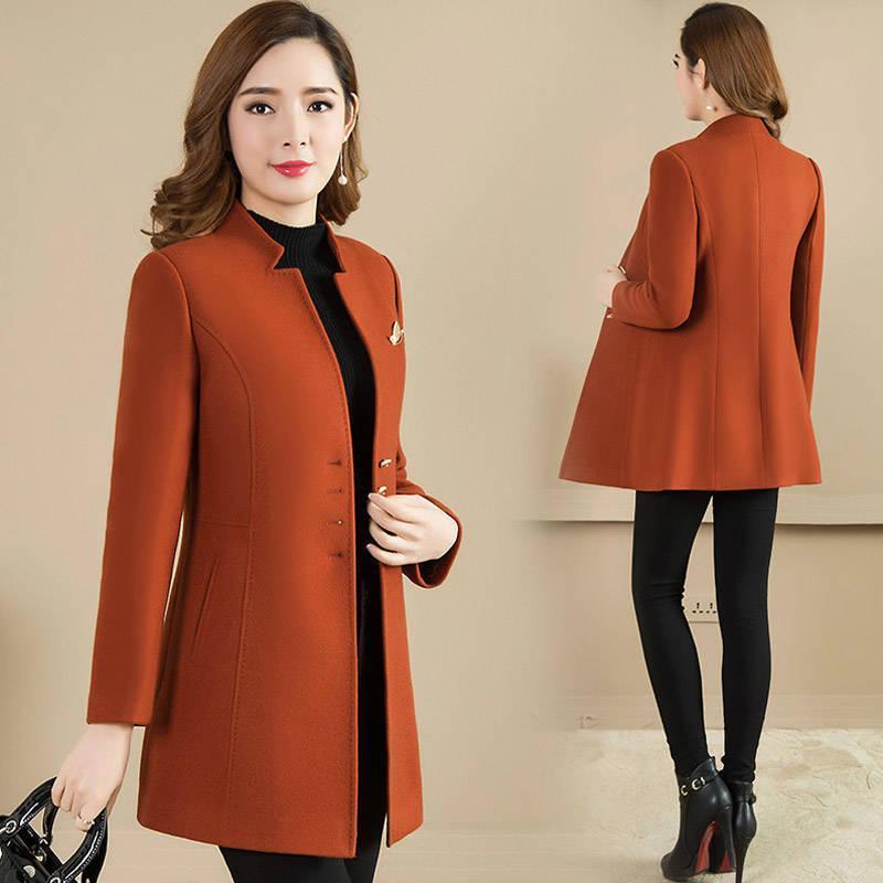 Высокое качество женского пальто новая осень осень шерстяное пальто женские тонкие длинные стойки воротник шерстяной тонкий траншея L826