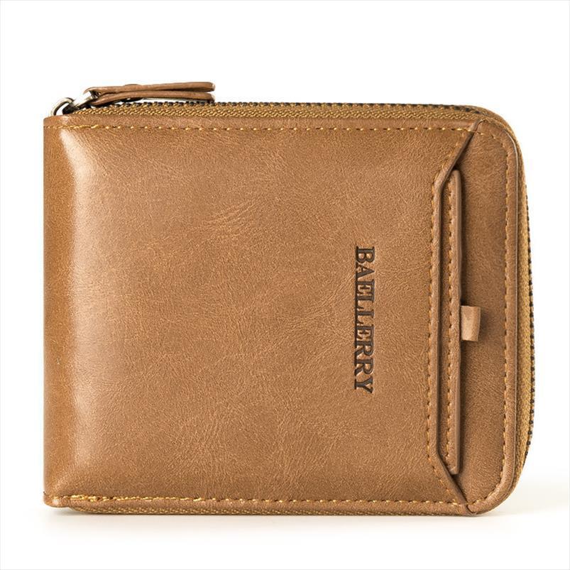 Mens confortável PU couro suportes simples homem carteira qualidade carteira cartão de pacote zipper padrão alto EVSPP