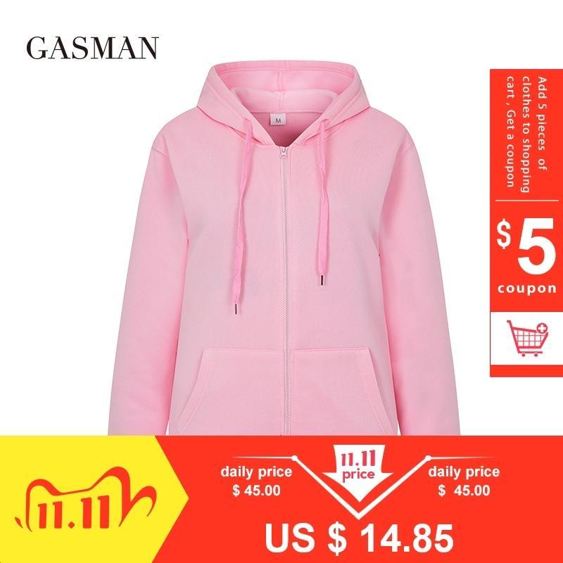 Gazman sonbahar katı uzun kollu hoodies tişörtü kadın hoodie fermuar kış kadın rahat cep kapüşonlu tişörtü giysi 201106