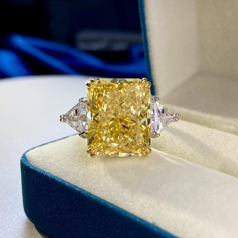 100% 925 Lujo de plata esterlina 13 * 16mm Topaz Anillos nupciales de diamante de alto carbono 100% 925 Partido de plata esterlina Joyería fina