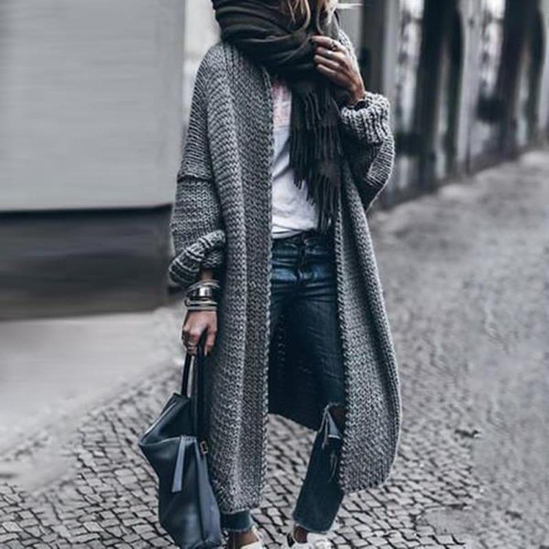 Cardigan lungo maglione maglione cappotto donne nuovo solido cucito aperto giacca casual jacket femmina invirio nuovo soprabito sciolto mujer