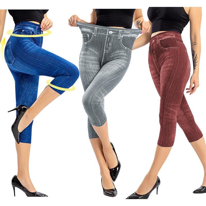 Faux Jeans Леггинсы Женщина Растяжка Печатные Короткие Логинские Брюки Летние Бриезы Высокая талия Идеальный Fit Jeans Jeggings KG-54