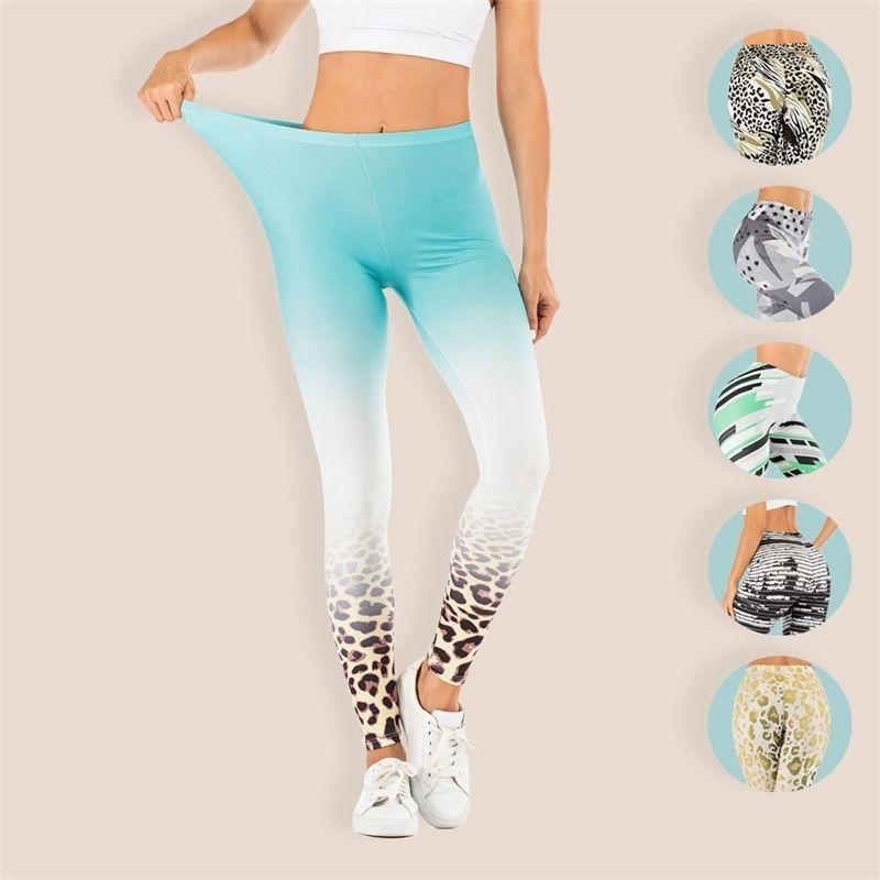 Omber Leopard Sexy Fitness Leggings Mujeres Impresas Legginas MUJER Elasticity Legging Anti Celulitis Push Up Soft Pants Slim Legins 201203