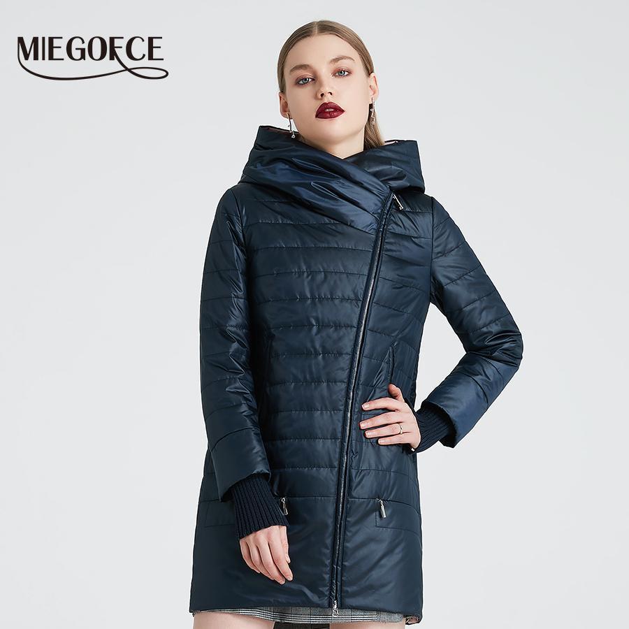 Miegofce Spring Осенняя куртка с косой срезанной женской женской курткой тонкий хлопковое пальто ветрозащитный теплый вязаный рукав 200929