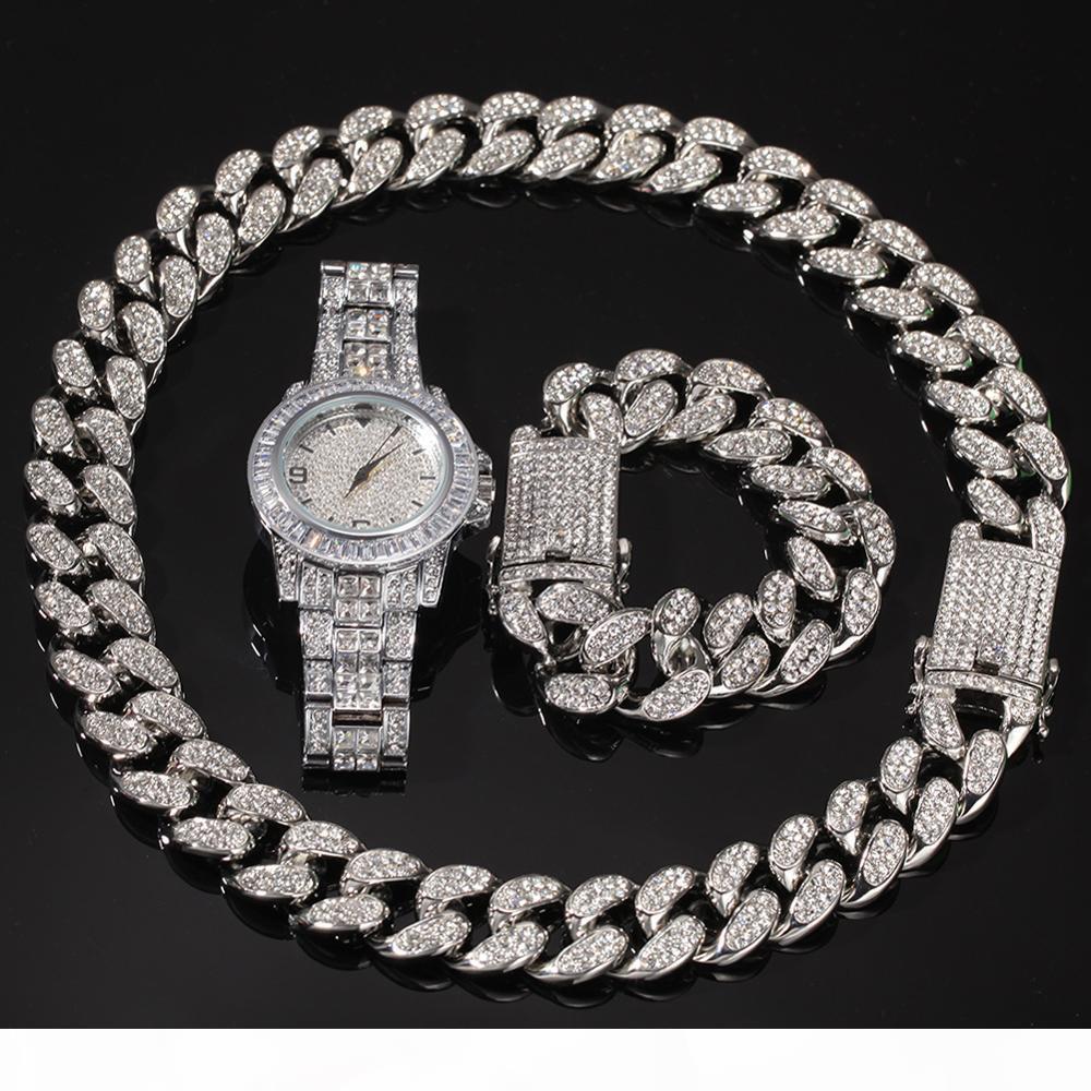 3pcs Männer Hip Hop gesetzt gefror heraus Bling Kette Halskette Armbänder 20mm Breite kubanischen Ketten-Halsketten Hiphop Charme Schmuck-Uhren