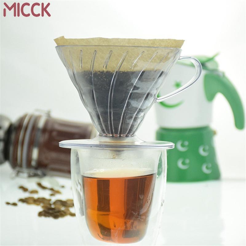 MICCK 2/4 Tassen Dripper V60 hitzebeständiges Harz Barista Werkzeuge Coffee Brewing Cup Hand gewaschen Glas Tropffilter Topf 1021
