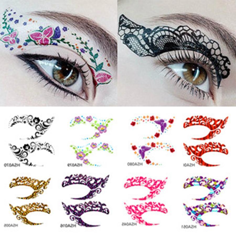 Instantánea loca pegatinas tatuaje temporal partido de las muchachas de ojos engomada de la sombra de ojos de colores Roca Herramientas 12pairs / lot Papel Adhesivo Para Tatuajes