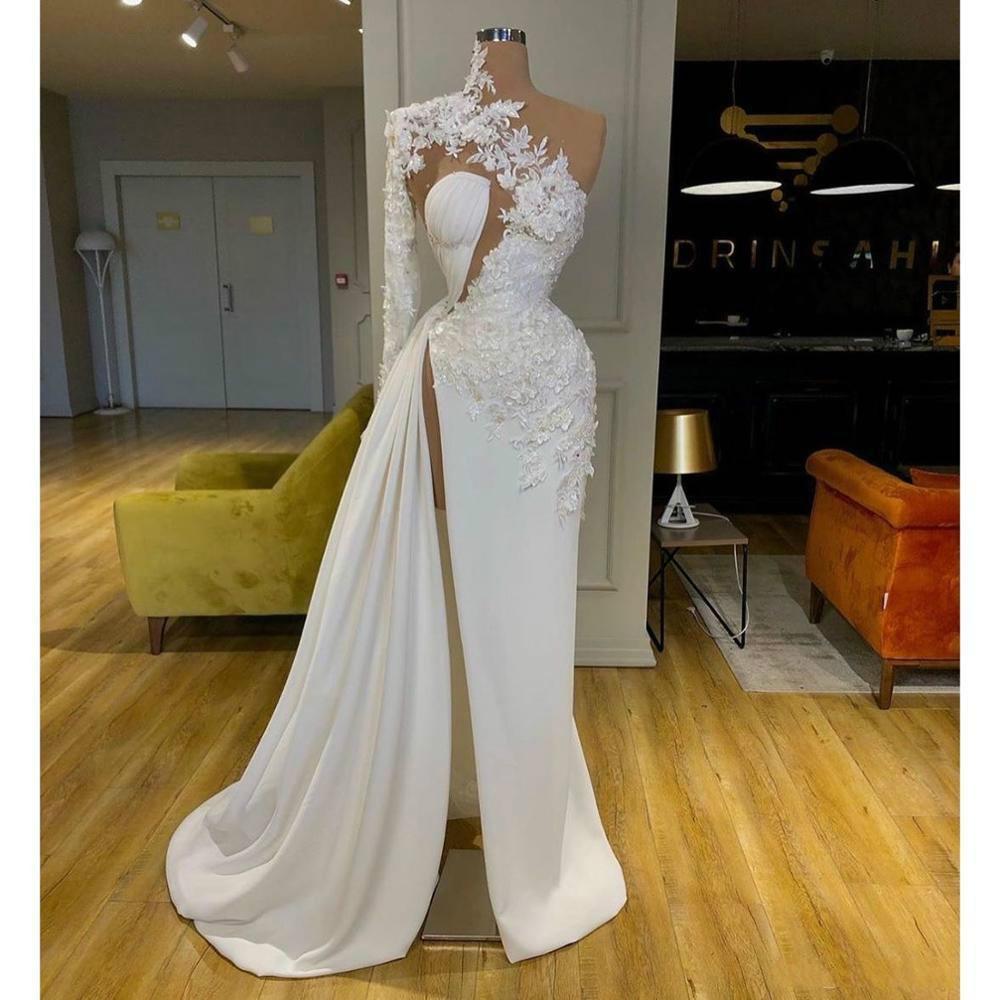 Imagem real Árabe Dubai requintado laço branco vestidos de baile alto pescoço um ombro manga comprida formal vestidos de noite lado vestido de festa split