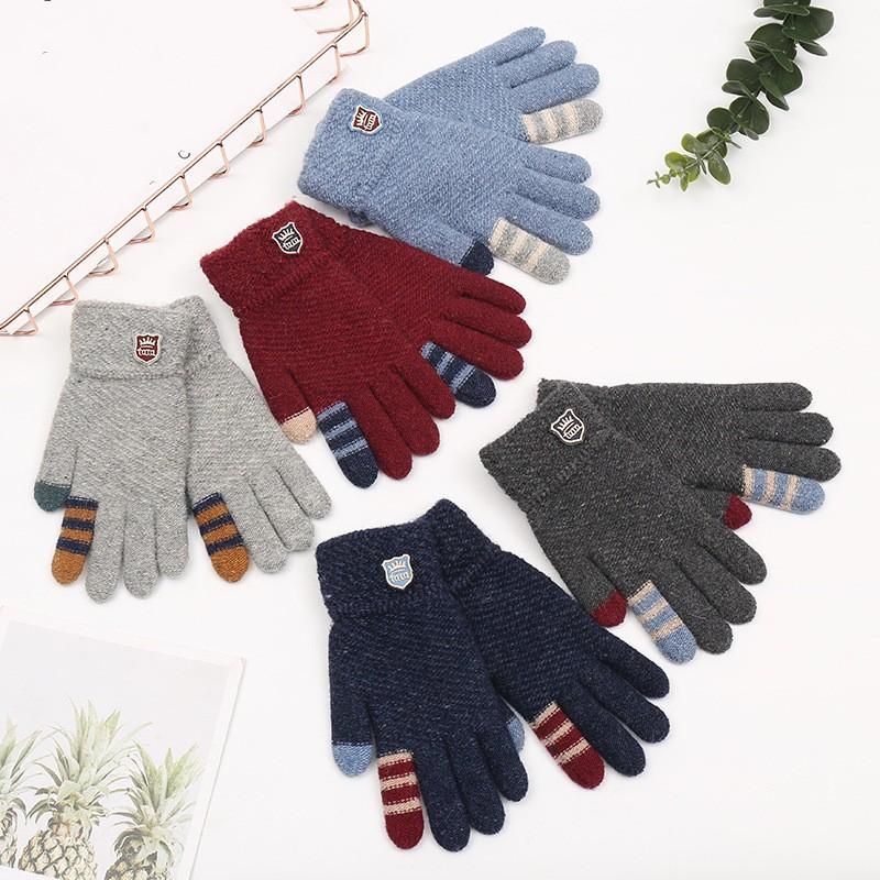 خمسة أصابع قفاز الموضة السفر تدفئة قفازات الشريط لينة الحياكة وسم الرجل الجديد في فصل الشتاء 4 3DZ K2