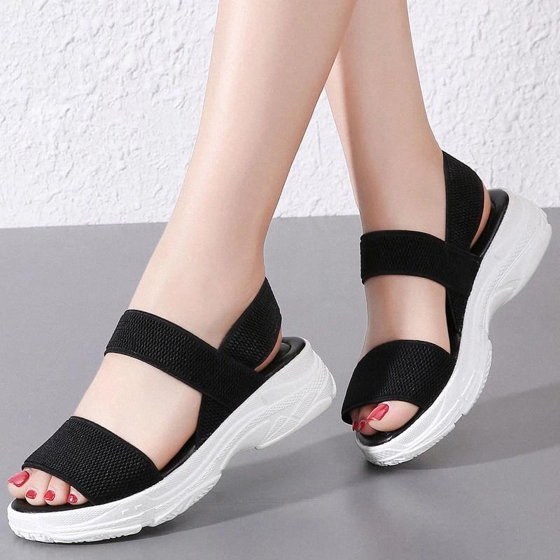 Mujeres Chunky Playa Sandalias Verano 2020 Femenino Moda Peep Toe Zapatos casuales para mujer Sandalias de gran tamaño Verano Plataforma Mujer # 5J4F