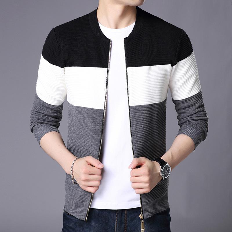 Lux Angner Yeni Erkek Casual Hırka Triko Erkekler Uzun Kollu Moda Patchwork Örme Dış Giyim Coat Kazak Erkek Marka Giyim