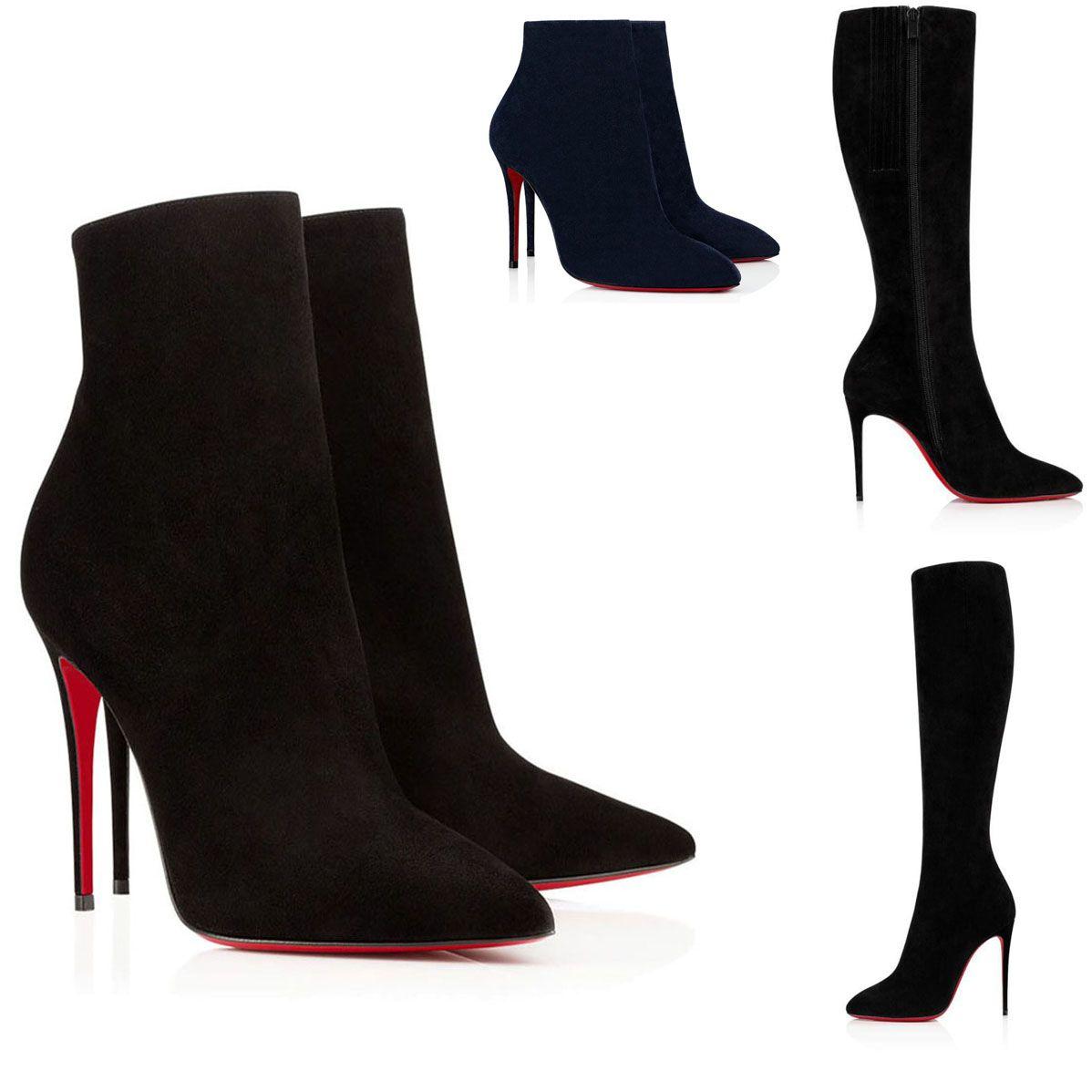 Moda zapatos para mujer París para mujer Botas de fondo rojo Zapatos de tobillo Booty Fashion Women Black Suede Cuero Sexy Suelas rojas Altas Tacones Altos Calidad