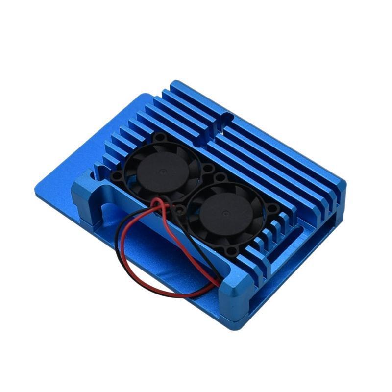 для Raspberry Pi 4 4B алюминиевый корпус с ЧПУ Корпус Крышка с Охладитель охлаждения с двумя вентиляторами для Raspberry Pi 4 модели B (синий)