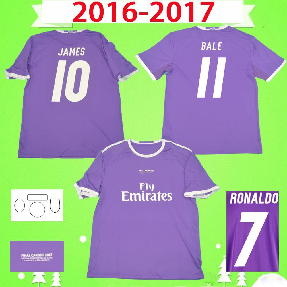 2016 2017 Ronaldo Real Madrid Soccer Jerseys Purple Retro Benzema Football Shirt 16 17 James Vintage Camiseta de Fútbol Pepe Sergio Ramos