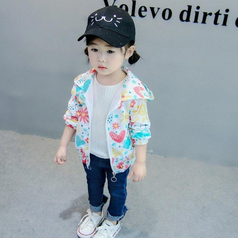 Escudo del niño de otoño del resorte ocasional del bebé de la manera floral de la muchacha de impresión de manga larga con capucha de los niños Ropa de abrigo Ropa Dropshipping BDO4 #