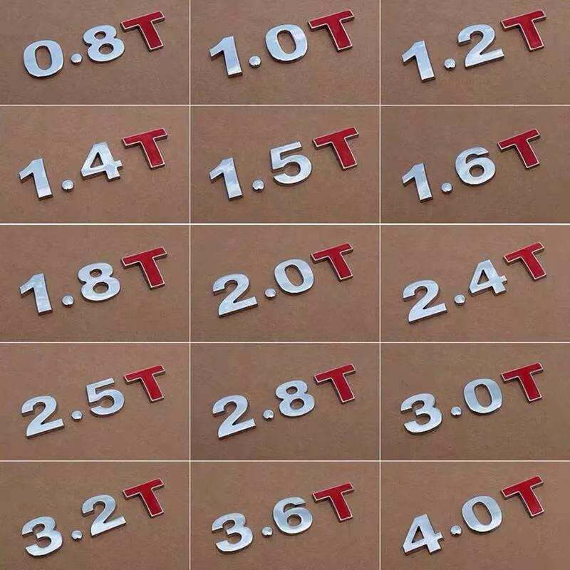 نوعية جيدة Metal 3D 1.4 1.5 1.6 1.8 2.0 2.2 2.4 2.5 2.8 3.0 T L شعار سيارة ملصقا الخلفية جذع شعار الذيل شارة النزوح