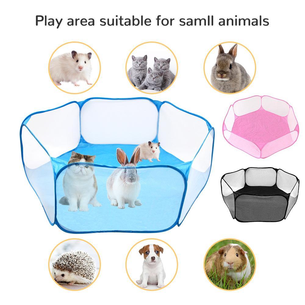 Pet PLAYPEN PORTABLE PORTABLE INDOOR / EXTÉRIEURE Petite cage d'animaux Jeu Clôture pour Hamster Chinchillas et Guinée LJ201201