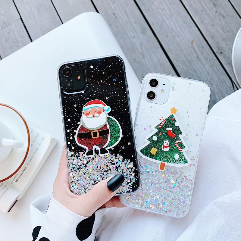 Santa Claus quicksand Christmas Theme Pattern Phone Case For iPhone 12 11 XS Max XR X 8 Plus TPU Hot Sale Mobile Phone Back Cover Shell noey