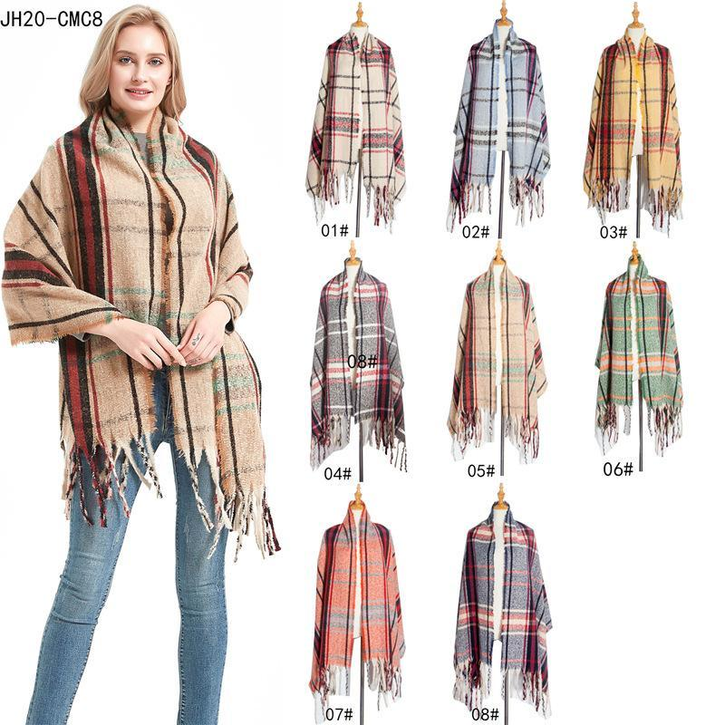 2021 Autunno Inverno europeo e americano nuovo circolo filato spesso di spessore colore nappa plaid treccia sciarpa signore scialle