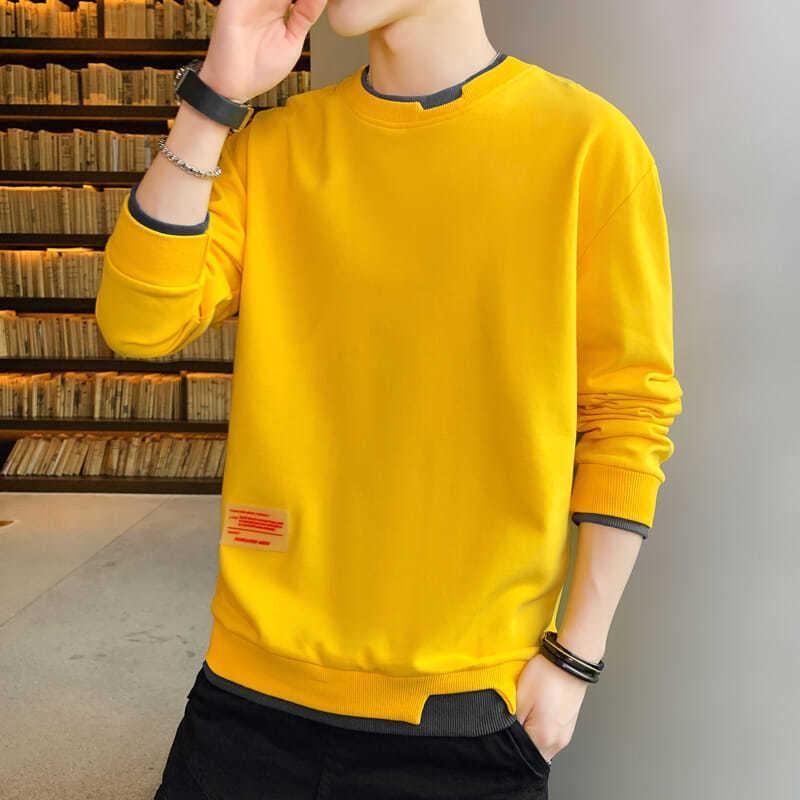 Мужские футболки Новые длинным рукавом O-образным вырезом Футболка мужская осень зима Casual Cotton Plus Размер Топы Рубашки Человек Streetwear Harajuku рубашка 201012