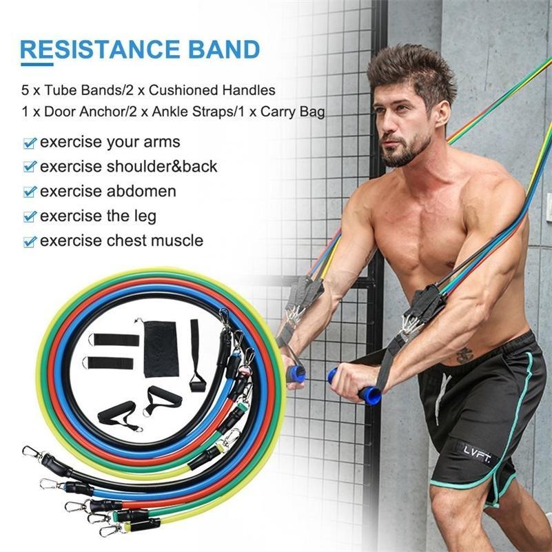 Модернизированные железные пряжки Фитнес-сопротивление полосы тренировки тренировки резистентность полоса сопротивления набор с дополнительным дверным якорем 201103