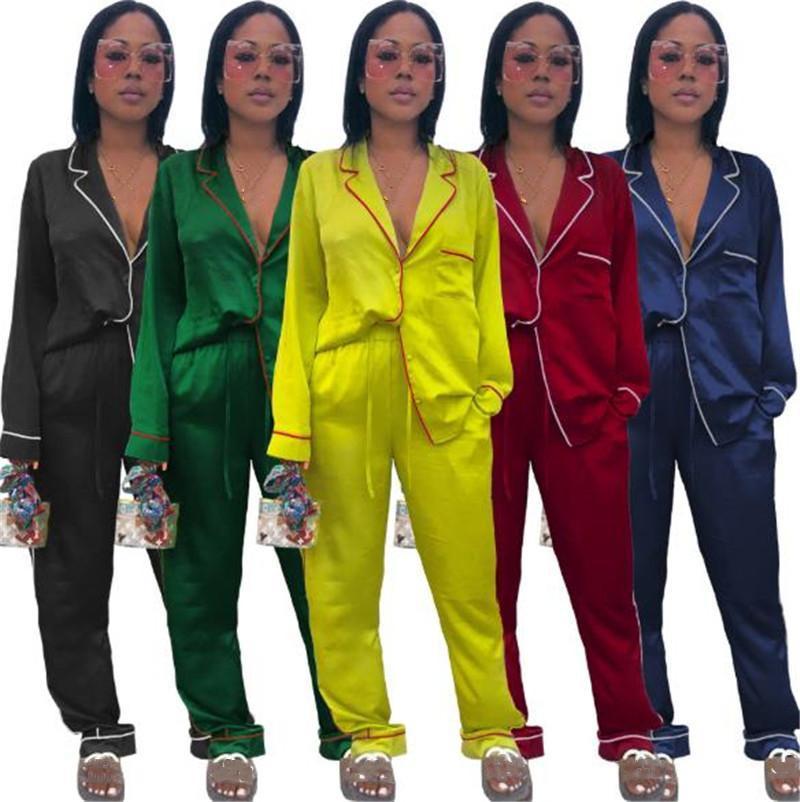 2021 Artı Boyutu Bayan Pijama Setleri Yaka Boyun Uzun Kollu Hırka Pijama Kadınlar Rahat Iç Çamaşırı Suits
