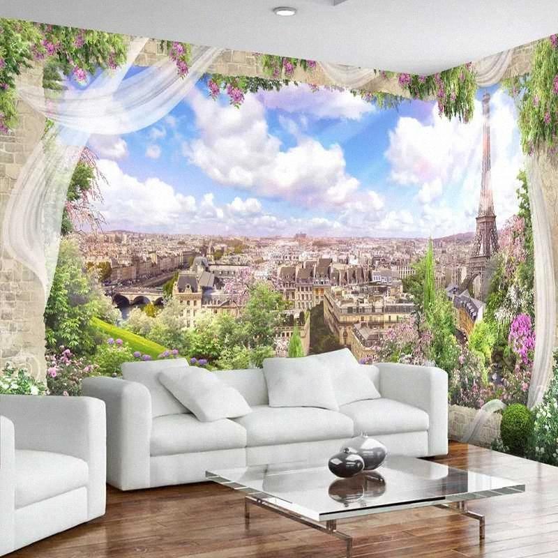 Drop Shipping sur mesure toute taille Photo Wallpaper 3D fenêtre Paris Tour Eiffel Ville Paysage peint Papier peint décor Arrière-plan de la #