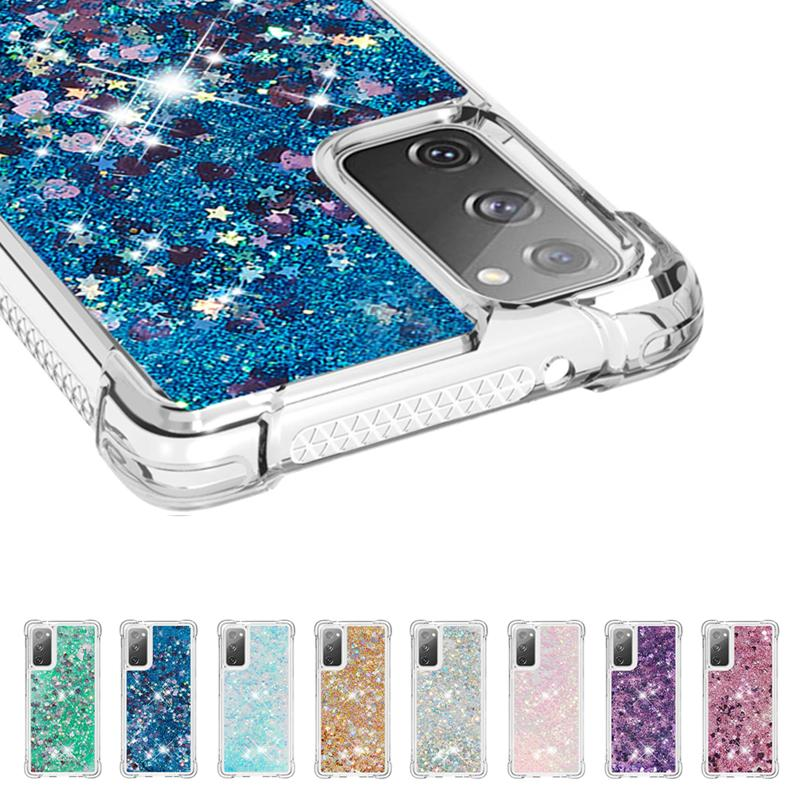 Glitter Líquido Quicksand a caixa do telefone para Samsung Galaxy Note 20 Ultra Nota 10 à prova de choque caso capa para Samsung S20 S10 mais S10e M80S M60S