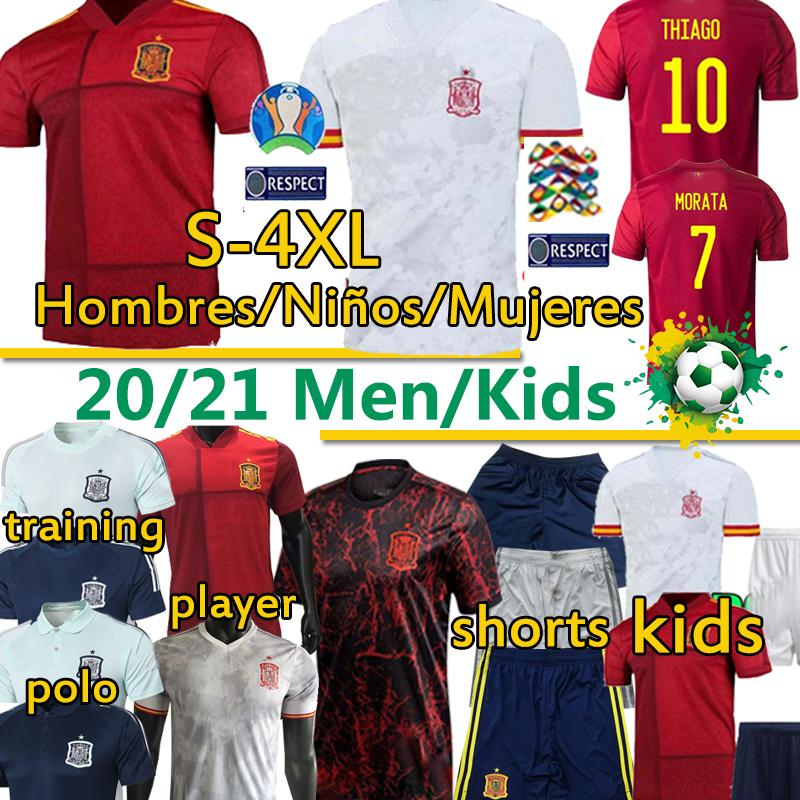 اسبانيا المشجعين وطني لاعب كرة القدم بالقميص دي فوتبول SERGIO RAMOS تياجو FATI أنسو HOMBRES نينوس كرة القدم قمصان زي السراويل 4XL 20 21
