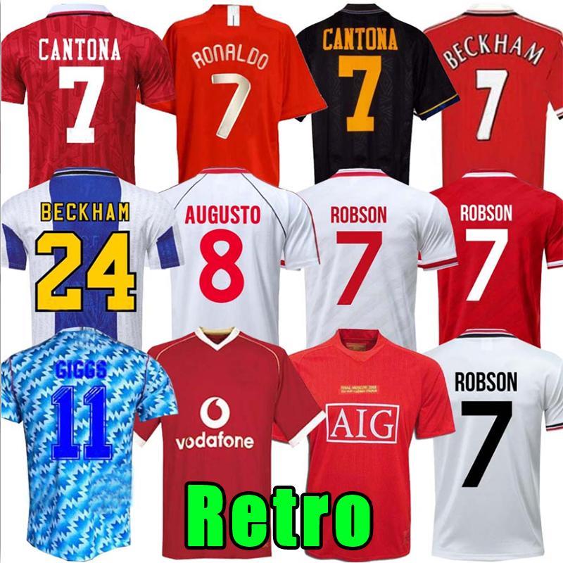 Retro United 07 08 90 92 94 94 96 98 99 2002 Man Final Home Jersey 1994 1998 Ronaldo Beckham Cantona Keane Scholes Giggs Manchester Jersey UTD