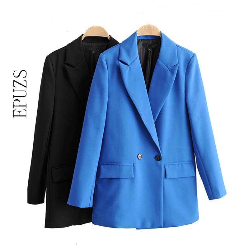 chaquetas de las mujeres elegantes y chaquetas de invierno bolsillos de manga larga negro femme chaqueta chaqueta de traje de oficina femenina