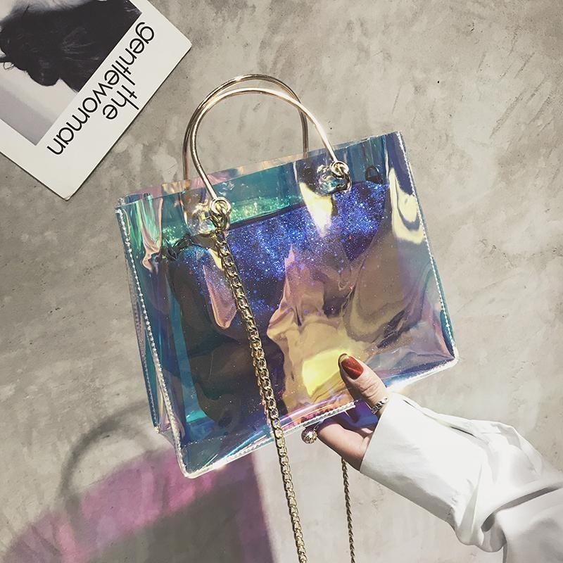 Laser transparente saco de geléia feminino 2020 nova maré de maré mão concha ombro bolsa de ombro filha