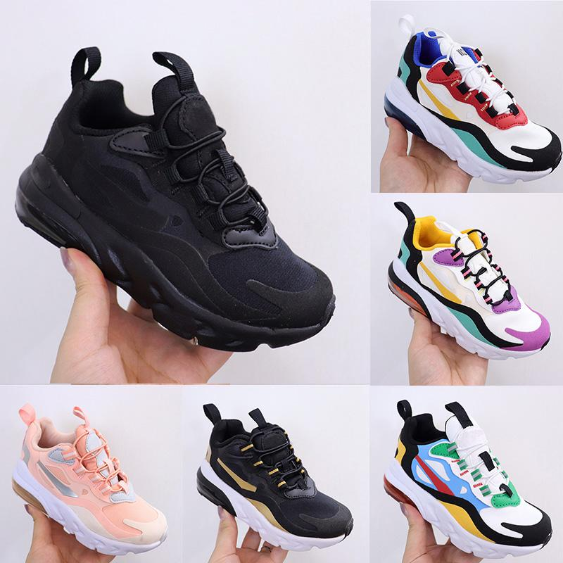 Free 270 React Bauhaus Kids Shoes 2020 Boy Girls Running Shoes Black White Hyper Bright Violet Toddler Children Sneakers 28-35