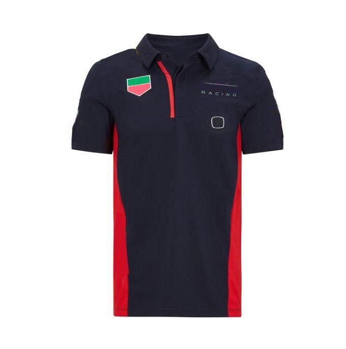 F1 فريق النسخة سيارة مروحة سباق دعوى الرجال والنساء الصيف الأحمر بأكمام قصيرة تي شيرت سيارة مروحة سيارة تجفيف سريع الملابس وزرة بولو customizat