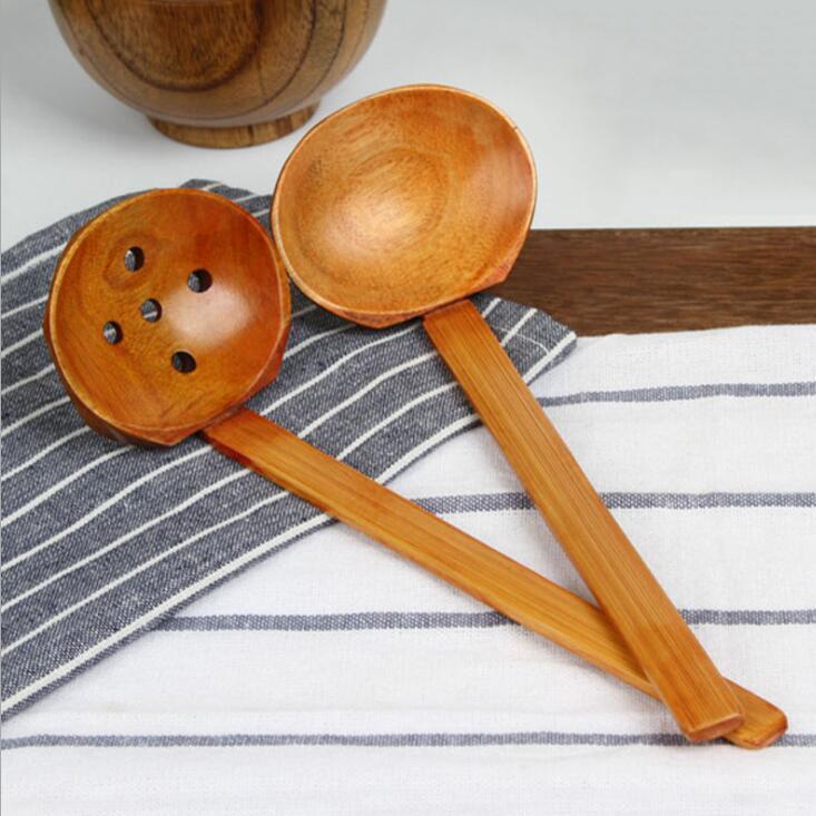 Madera tortuga sopa cucharas de madera de mango largo Hot Pot restaurante espumadera cuchara colador de madera Vajilla estilo japonés Ramen LSK1636