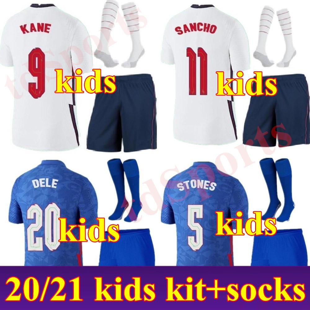 Новый 2020 Kid Kit Kit Англия Футбол Джерси 20 21 Rooney Kane Strurridge Стерлинг Henderson Varry Youth Boys Football Tehersys Calkio Рубашка