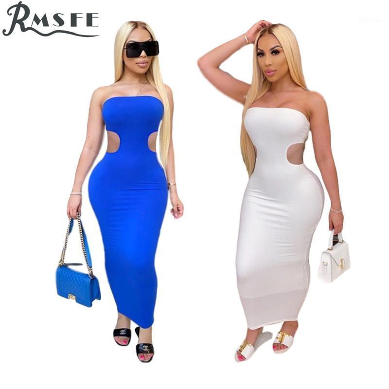 RMSFE 2020 Yaz Katı Kolsuz Straplez Bandaj Bodycon Moda Maxi Elbise Rahat Güneş Işığı Uzun Elbiseler1