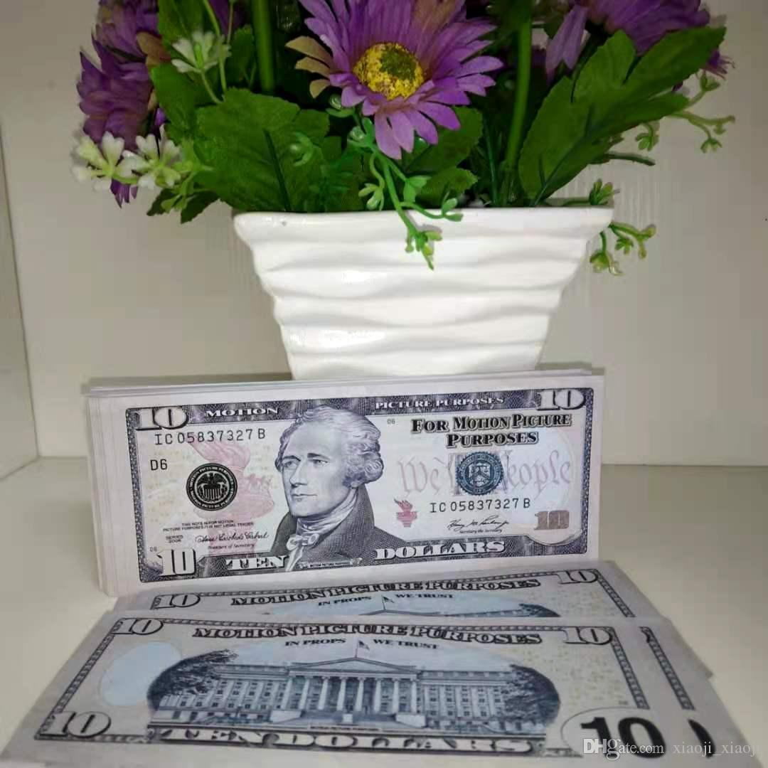 Propunador de dinero Atmósfera Dinero al por mayor 10 Dólares Billetes de Billetes Papel Dinero Bar Copia Falso Cumpleaños Realista USD Falso Money-S JCSFW