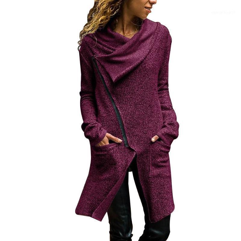 Femmes Oblique Manteau à glissière à fermeture à glissière à glissière longue manches longues automne Outwear avec poches -MX81