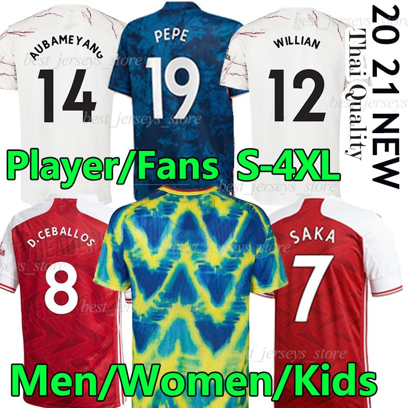 4xl fan giocatore Versione Arsen Humanrace Jerseys Soccer Thomas Pepe Gabriel Willian Saka 2020 2021 Gunners Men Women Kit Kit Kit Camicia da calcio