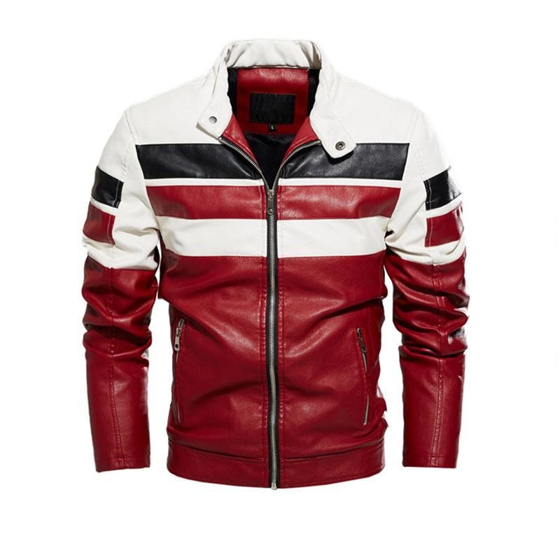 남성 지퍼 양털 인조 남성 코트 2020 남성 가죽 자켓 줄무늬 패치 워크 오토바이 가죽 자켓