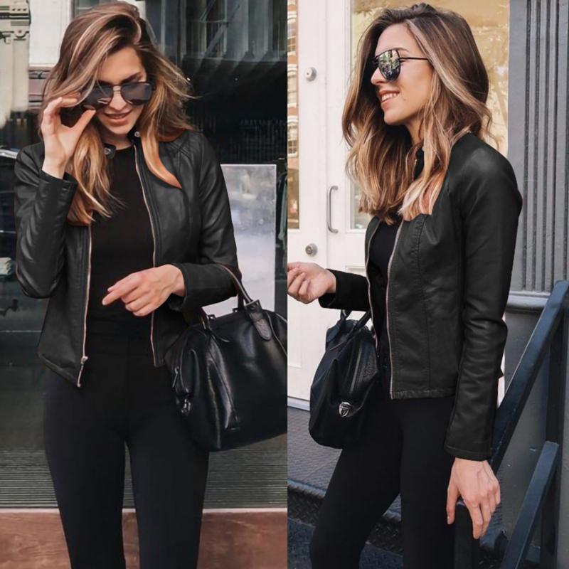 Nédeins Femmes manteau d'hiver épaissie épaissie manche longue manches d'extérieur veste en cuir PU chaudies pour femmes automne vêtements pour femmes J0112
